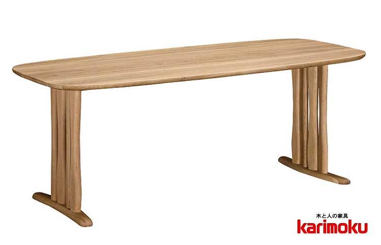 カリモク DF6222 180cmダイニングテーブル 少し丸みを帯びた 食卓テーブル 配膳台 食事机 楕円型 2本脚 脚間変更可 オーガニックライン ブナ材 送料無料 karimoku 日本製家具 正規取扱店 テーブルのみ