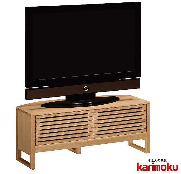 カリモクHU3653 105cmテレビ台 大型液晶LED対応 TVボード 観音開き戸収納 木製 完成品 送料無料 日本製家具 正規取扱店 ダーク ブラウン ナチュラル レッグ 和室にも対応 シンプル 北欧