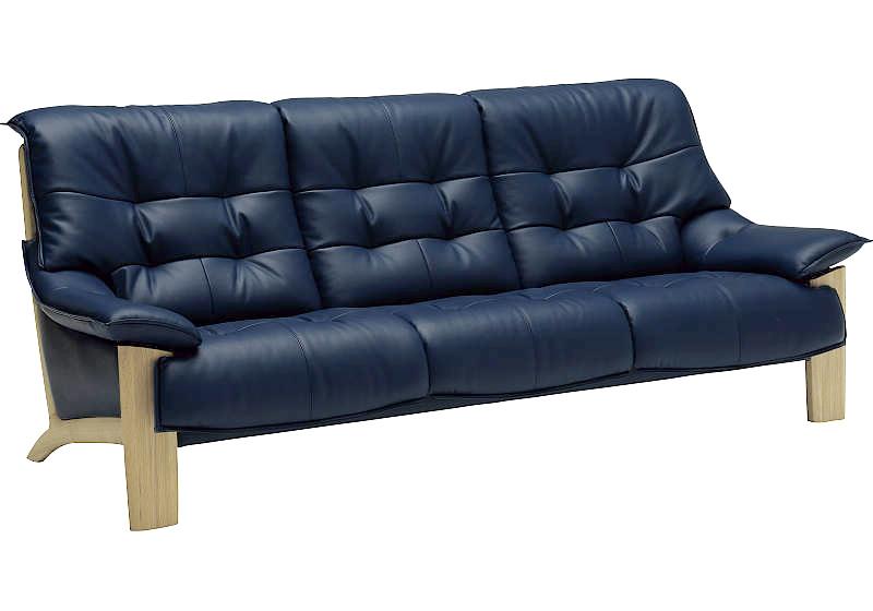 カリモク ZU4913 3Pソファ 本革張レザーソファ 肘掛ソファ トリプルチェア 3人掛け長椅子ロング おすすめ おしゃれ 人気 karimoku ZU49モデル 日本製家具 正規取扱店