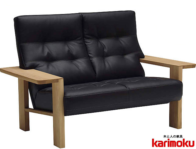 カリモク WT3612 2Pソファ 本革張レザーソファ 肘掛ソファ ラブチェア 二人掛け椅子ロング おすすめ おしゃれ 人気 karimoku 日本製家具 正規取扱店