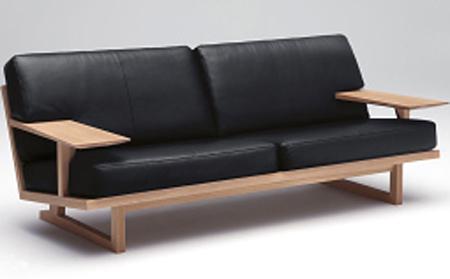 カリモク WU4703 3Pソファ 本革 三人掛け長椅子 木製肘掛ソファ 和風縦格子状 送料無料 おすすめ おしゃれ 人気 karimoku 日本製家具 正規取扱店リーベル・ネオスムース