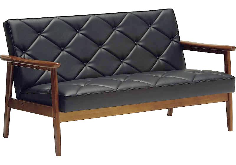 カリモクWS1193BW(旧WS1183BW) 肘掛椅子2Pソファブラック 合成皮革張ラブチェア ビンテージ風 レトロ 古風 コンパクト カリモク60Kチェア風 カフェ 送料無料 おすすめ おしゃれ 人気 日本製家具 正規取扱店