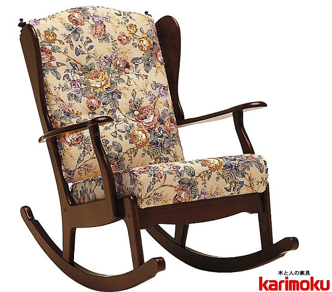 カリモク RC6002AK木製ロッキングチェア カントリー調 エレガンスローズBベージュ リクライナー1Pソファ リクライニングチェア コロニアルウォールナット 布張り花柄ファブリック karimoku 日本製家具 正規取扱店 揺り椅子