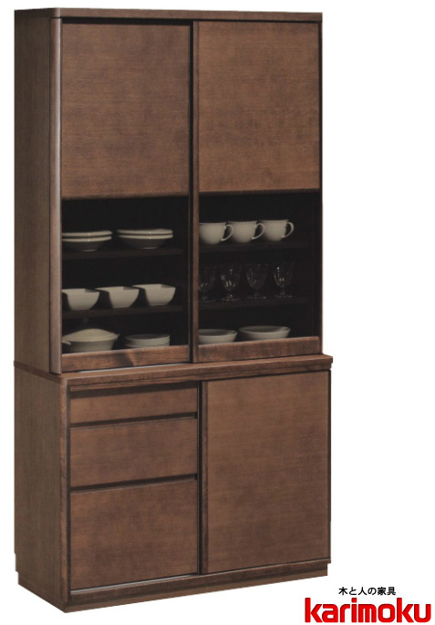 カリモクET3910 食器棚 100キッチンボード ダイニングボード ナチュラル ブラウン カップケース 皿収納 設置送料無料 日本製家具 正規取扱店