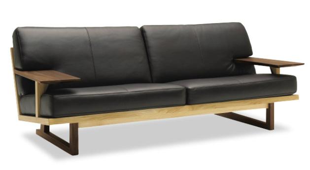 カリモク WU4723 3Pソファ 革張り三人掛け椅子 木製肘掛トリプルソファ 和風縦格子状 おすすめ おしゃれ 人気 karimoku 日本製家具 正規取扱店