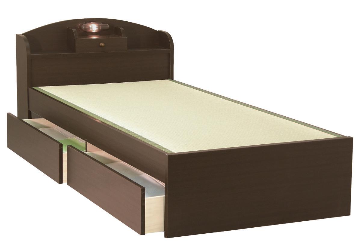 セブンベッド モネ 引き出しつき ドロアー 宮付き 照明 セミダブル シンプル タタミベッド たたみ 畳ベッド ライト ダーク 日本製家具 送料無料 フレームのみ