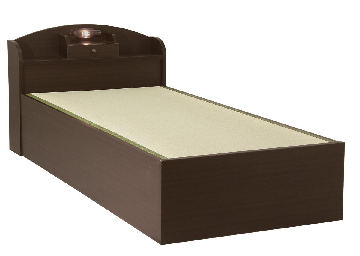 セブンベッド モネ ノーマル 宮付き 照明 シングル シンプル タタミベッド たたみ 畳ベッド ライト ダーク日本製家具 送料無料 フレームのみ