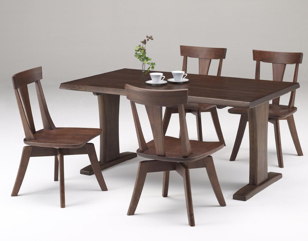 伊吹ダーク天然木使用 いぶきダイニング5点セット 回転椅子 食卓セット 木製無垢 送料無料 タモ材
