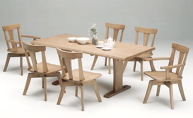 伊吹ナチュラル天然木使用 いぶきダイニング7点セット 回転座面椅子 食卓セット 木製無垢 送料無料 タモ材