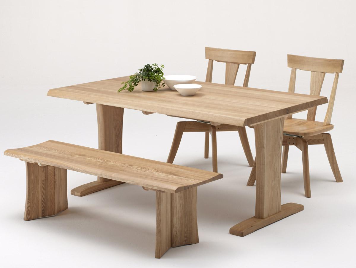 伊吹ナチュラル天然木使用 いぶきダイニング4点セット 回転椅子 ベンチ 食卓セット 木製無垢 送料無料 タモ材