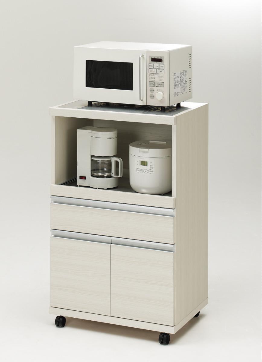 MRS-60 MRD-60 フナモコ キッチンカウンター レンジボード ナチュラル シンプル ホワイトウッド 60幅サイズ 完成品 日本製 送料無料 大型レンジ対応 コンセント付き ステンレス天板 裏面化粧 フルスライド棚
