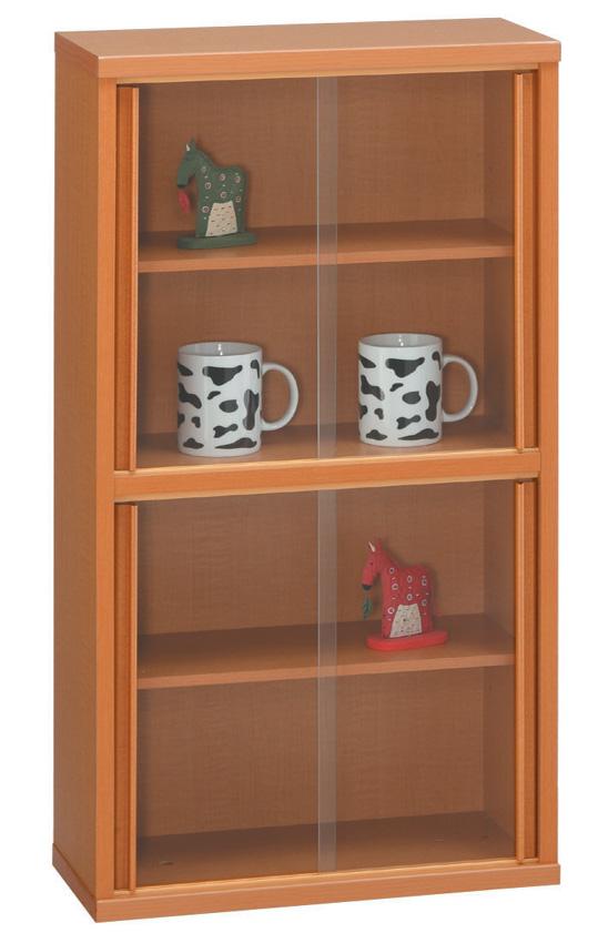 スリムキャビネット45 ナチュラル シンプル 本棚 DVD収納 ベーシック 収納ケース ガラス扉 飾り棚 三つ葉楽器 日本製 送料無料