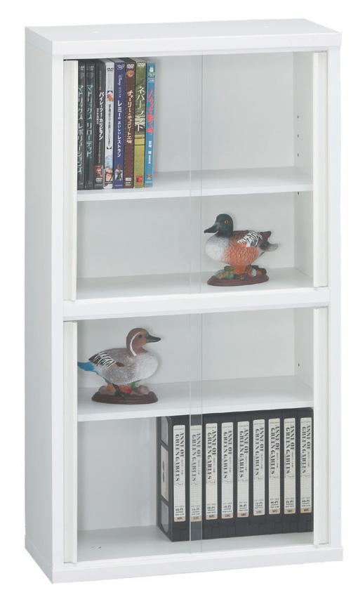 スリムキャビネット45 ホワイト シンプル 本棚 DVD収納 ベーシック 収納ケース ガラス扉 飾り棚 三つ葉楽器 日本製 送料無料