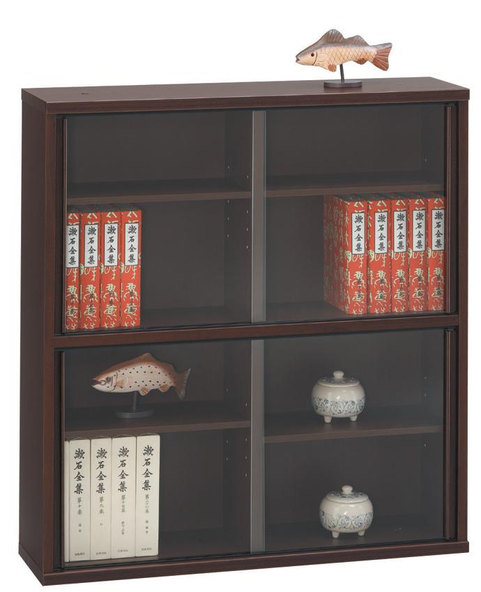 スリムキャビネット75 ダークブラウン シンプル 本棚 DVD収納 ベーシック 収納ケース ガラス扉 飾り棚 三つ葉楽器 日本製 送料無料