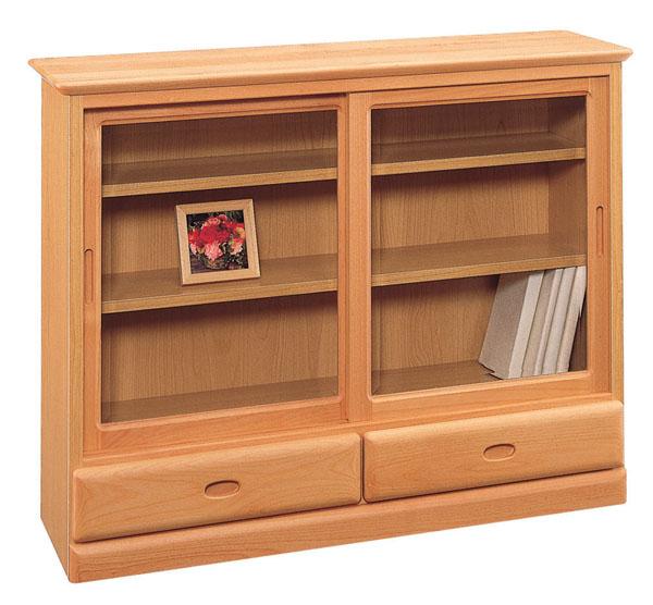 ムーディ90 リビングボード ナチュラル シンプル 本棚 DVD収納 ベーシック 収納ケース ガラス戸 飾り棚 三つ葉楽器 日本製 送料無料
