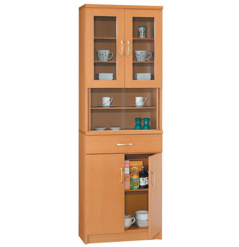 ラベンダー60 ダイニングボード 食器棚 カップボード ガラス開き戸 小型コンパクト収納 三つ葉楽器 上下分割式 ホワイト白 明るいナチュラル茶色 シンプルベーシックスタンダード 日本製 送料無料