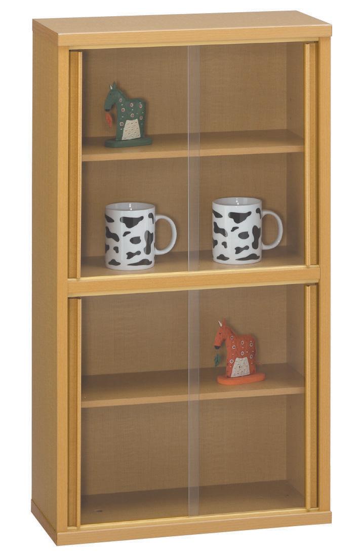 薄型収納ケース45 書棚 本棚 シェルフ ダーク ナチュラル ダーク コンパクト収納 ガラス引き戸 送料無料 日本製 三つ葉楽器