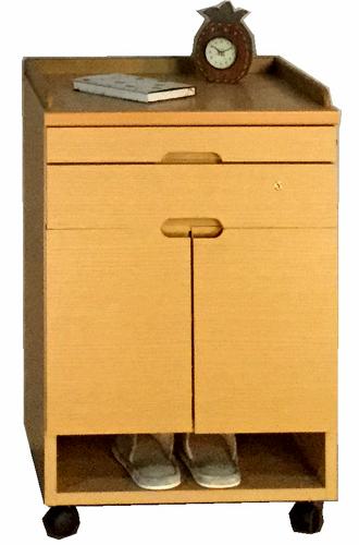 クローバーC(オープン)ベッドサイドキャビネット ナイトテーブル ナチュラル ダークブラウン 鍵付き キャスター付き タオル掛け シンプル ベーシック 三つ葉楽器 日本製 送料無料