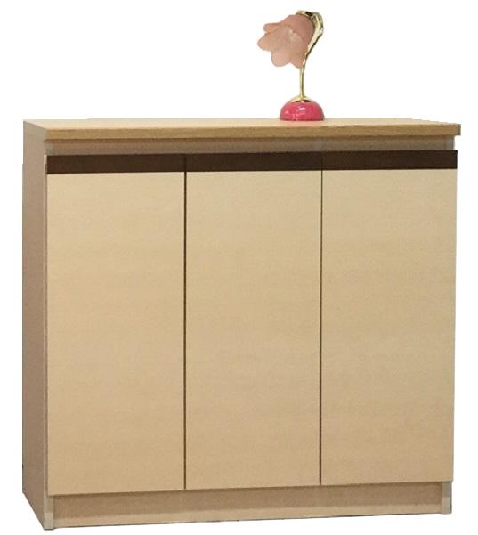 スイートピー120サイズ カウンター下収納 食器棚 カップボード すきま収納 小型コンパクト収納 三つ葉楽器 ホワイト メープルナチュラル 食品収納 キッチンキャビネット 日本製 送料無料