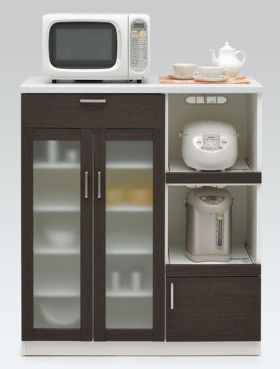 【3色】キッシュ 100ミドルキッチンキャビネット マルチボード 食器棚 コンパクトカウンター天板 オープン収納カップボード コンパクトナチュラル 共和KYOWA 日本製家具 送料無料