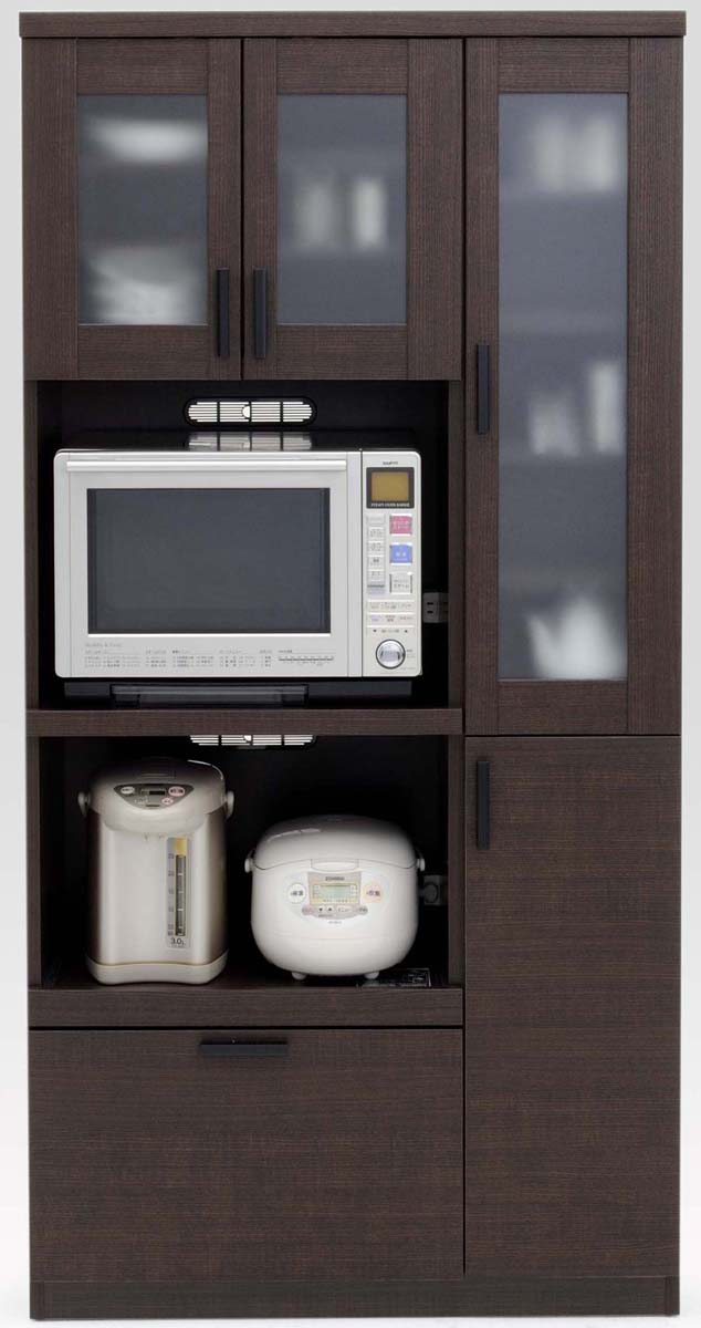 【3色】ルーナ 90Kダイニングボード 食器棚 カップボード 収納カップボード コンパクト ガラス開き戸 カントリーナチュラル 共和KYOWA 日本製家具 送料無料
