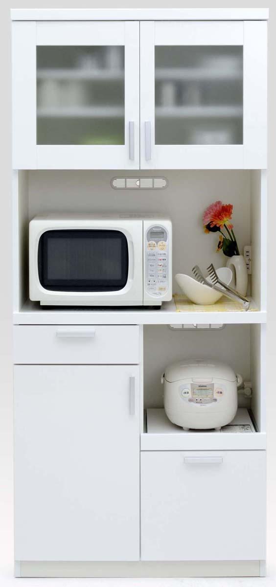 【3色】ルーナ 80Kダイニングボード 食器棚 カップボード 収納カップボード コンパクト ガラス開き戸 カントリーナチュラル 共和KYOWA 日本製家具 送料無料