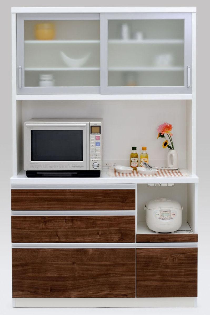 【2色】ラスク 120ダイニングボード 食器棚 カップボード 収納カップボード コンパクト ガラス開き戸 ナチュラル 共和KYOWA 日本製家具 送料無料