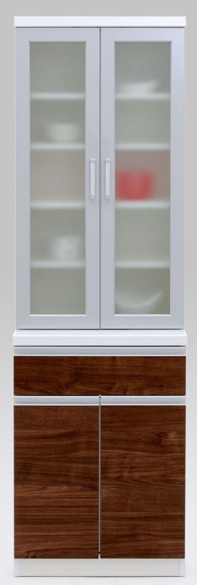 【2色】ラスク 60ダイニングボード 食器棚 カップボード 収納カップボード コンパクト ガラス開き戸 ナチュラル 共和KYOWA 日本製家具 送料無料