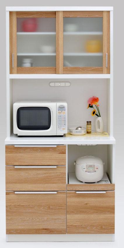 【3色】コロン 90ダイニングボード 食器棚 カップボード 収納カップボード コンパクト ガラス開き戸 ナチュラル 共和KYOWA 日本製家具 送料無料