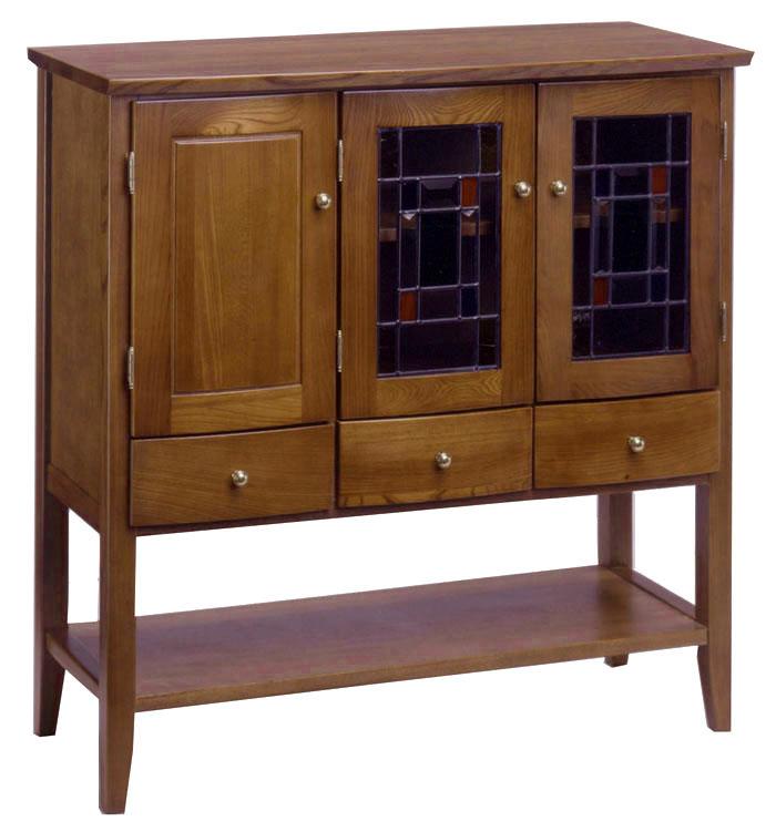 アケボノ オーロラ3023 キャビネット 収納棚 ステンドガラス シック 飾り棚 食器棚 送料無料