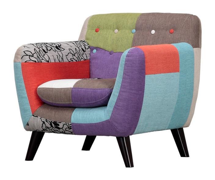 クルール ファブリック カラフルパッチワークパーソナルソファー 1P 一人掛け椅子 ブルー・ネイビーグレー 布張り ポップ プライム 送料無料