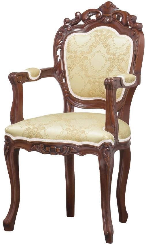 フランシスカ 肘付き椅子 クラシックスタイル ダイニングチェアとしても アンティークブラウン ヨーロッパモダン イス クロシオ