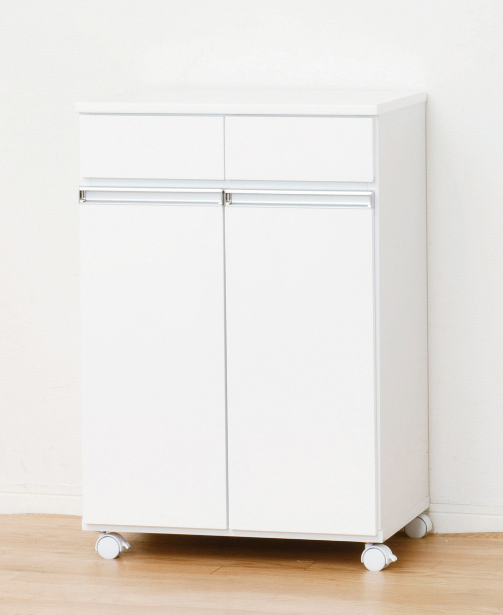 クロシオ ダイニングダストボックス2D ゴミ箱 キッチンワゴン ホワイト ブラウン シンプル キャスター付き 台所ゴミ箱 分別ボックス ナチュラル 送料無料