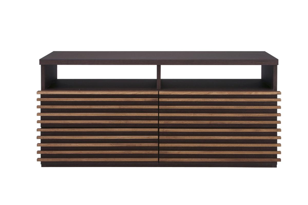 ホライズン 123TVボード 横幅123cm テレビ台 格子 シンプル 送料無料 日本製家具 引き出し2段 オープンタイプ ダーク・ナチュラル スリット
