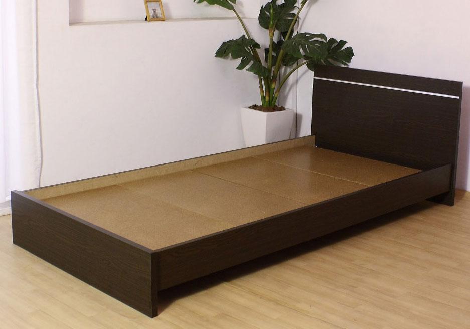 お買い得【284】パネル型ラインデザイン シングルベッド フラット 木部 おすすめ 送料無料 日本製家具 フレームのみ