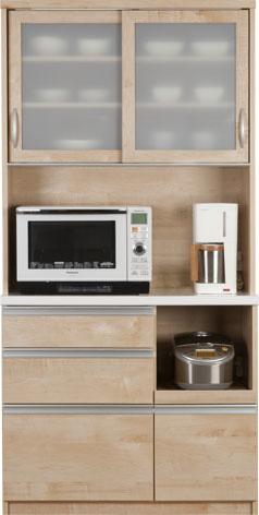 ウッディ100R 食器棚 100キッチンボード ダイニングボード スタイリッシュ ナチュラル カップボード ソウアイ 日本製 送料無料