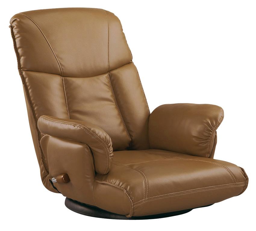 肘付き合成皮革座椅子 楓かえで YS-1392A 高齢者用家具 ソフトレザー リクライニングチェア ハイバック 送料無料 日本製 ミヤタケ