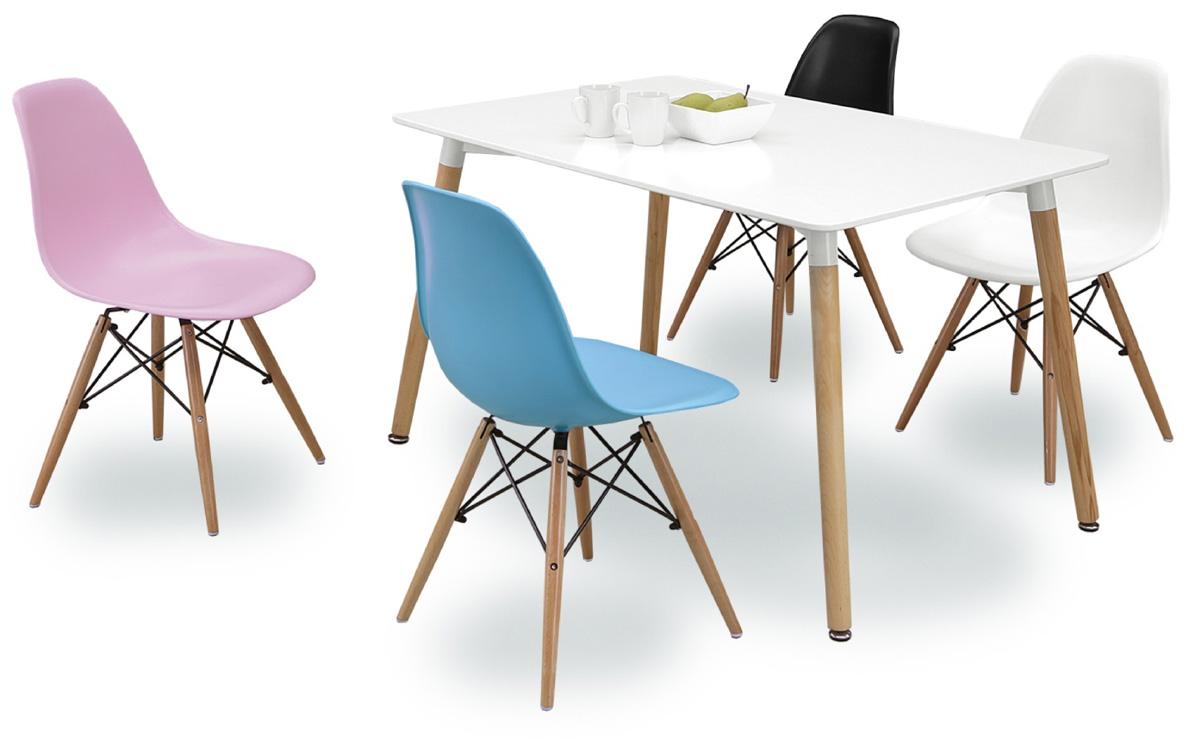 【ラッコ】デザイナー風チェア プラスチックチェア カラフルダイニング5点セット スタイリッシュコンパクト ホワイト・ブラック系 食卓セット 食堂椅子 送料無料 リプロダクト ジェネリック家具