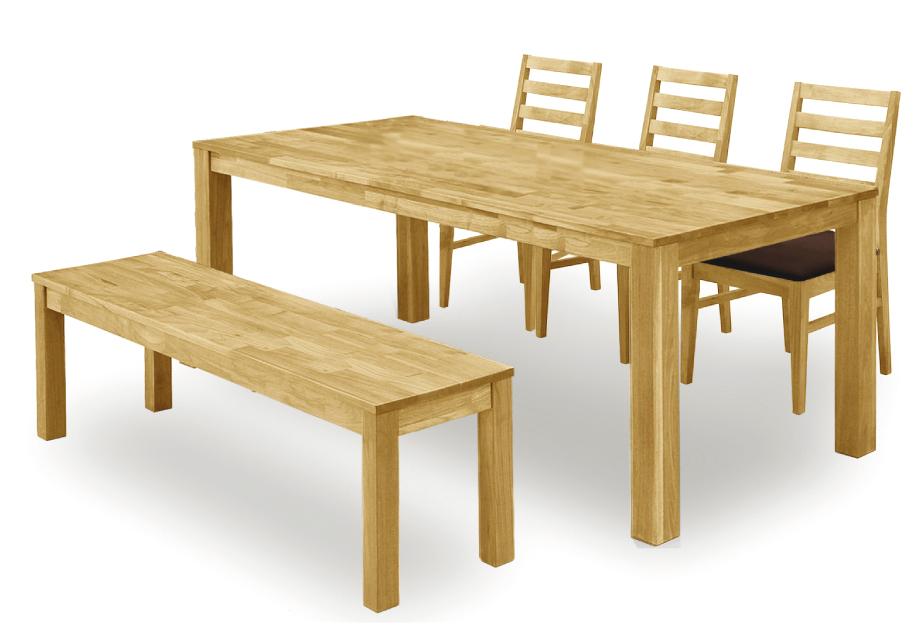 【オーズ】ナチュラル天然木使用 ダイニング5点セット ベンチ オーク材・ナラ食卓 木製無垢 送料無料