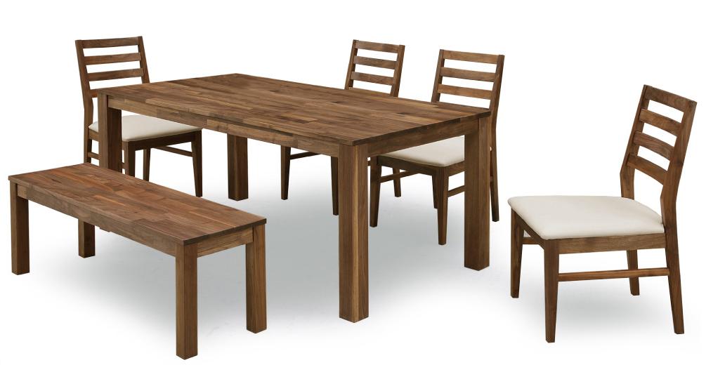 【オーズ】ナチュラル天然木使用 ダイニング6点セット ベンチ オーク材・ナラ食卓 木製無垢 送料無料
