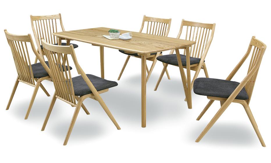 【ルーツ】ナチュラル天然木使用 ダイニング7点セット ベンチ タモ材食卓 木製無垢 送料無料