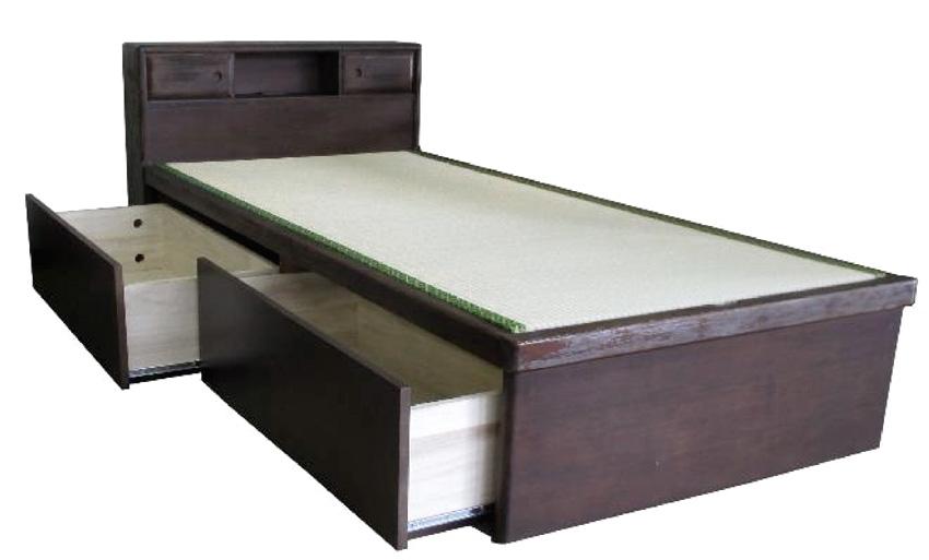 アンネルベッド ヤマト大和 引き出しつき ドロアー 宮付き セミダブル シンプル タタミベッド たたみ 高級畳ベッド 和風家具 浮造り 送料無料