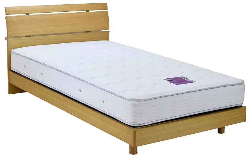 アンネルベッド クラフティCF-001CT ダブル 横桟 レッグタイプ・脚付き チョイ棚付き コンセント付き 機能的ベッド ナチュラルライト・ブラウン 送料無料 国産マットレス付き