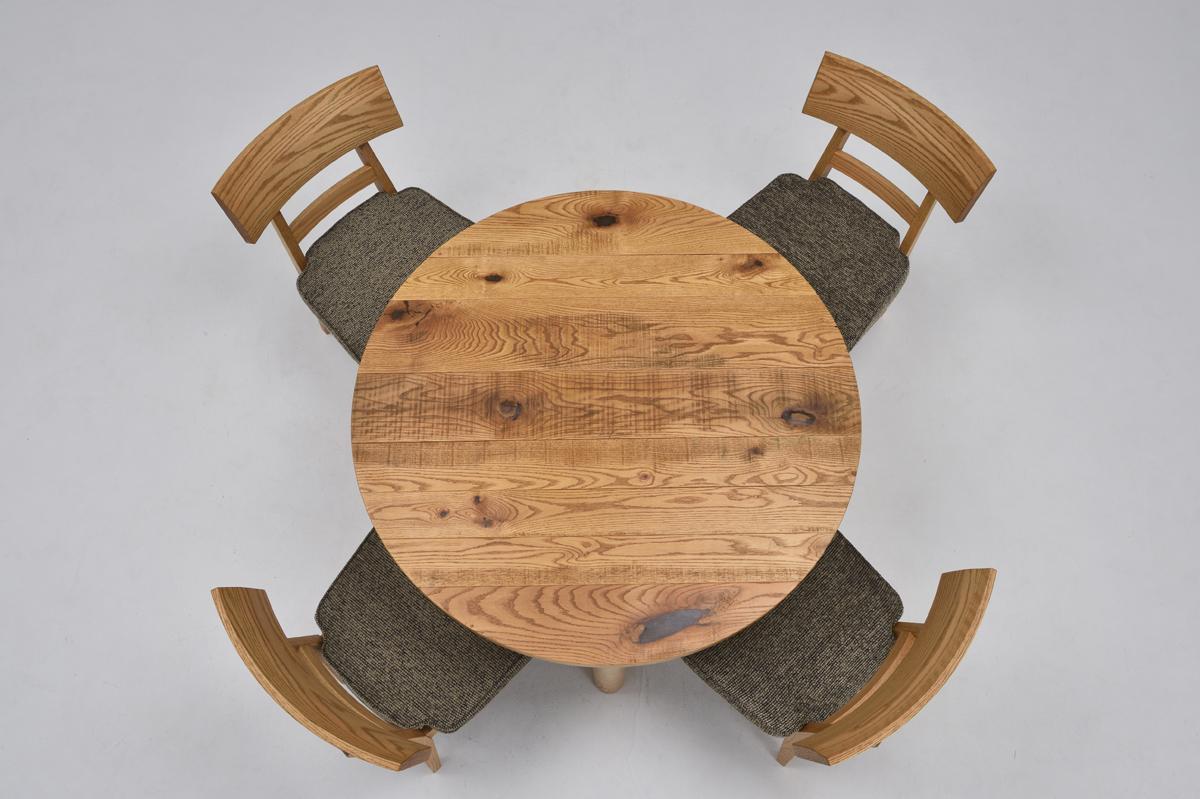 【オークラウンジ】円形ダイニング サークル丸型ダイニング5点セット ナチュラル シンプル 円卓 ファブリック 布張り ミキモク oak lounge