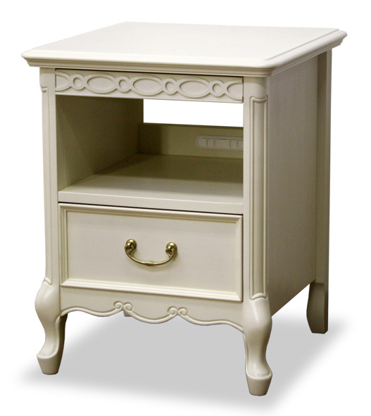 フルールDM-WH NTナイトテーブル サイドテーブル アンティーク風クラシックブラウン・ホワイト ヨーロッパ風 姫系家具かわいいロマンティクプリンセス ガブリオールレッグ猫足 木製 東海家具