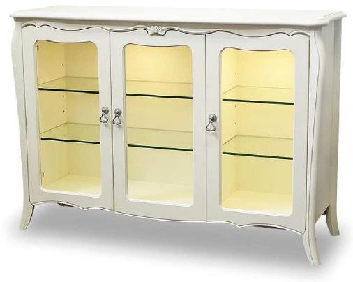 リモージュ サイドボード120 飾り棚 ガラス棚 アンティーク風クラシックホワイト ヨーロッパ風 姫系家具かわいいロマンティクプリンセス 木製 東海家具