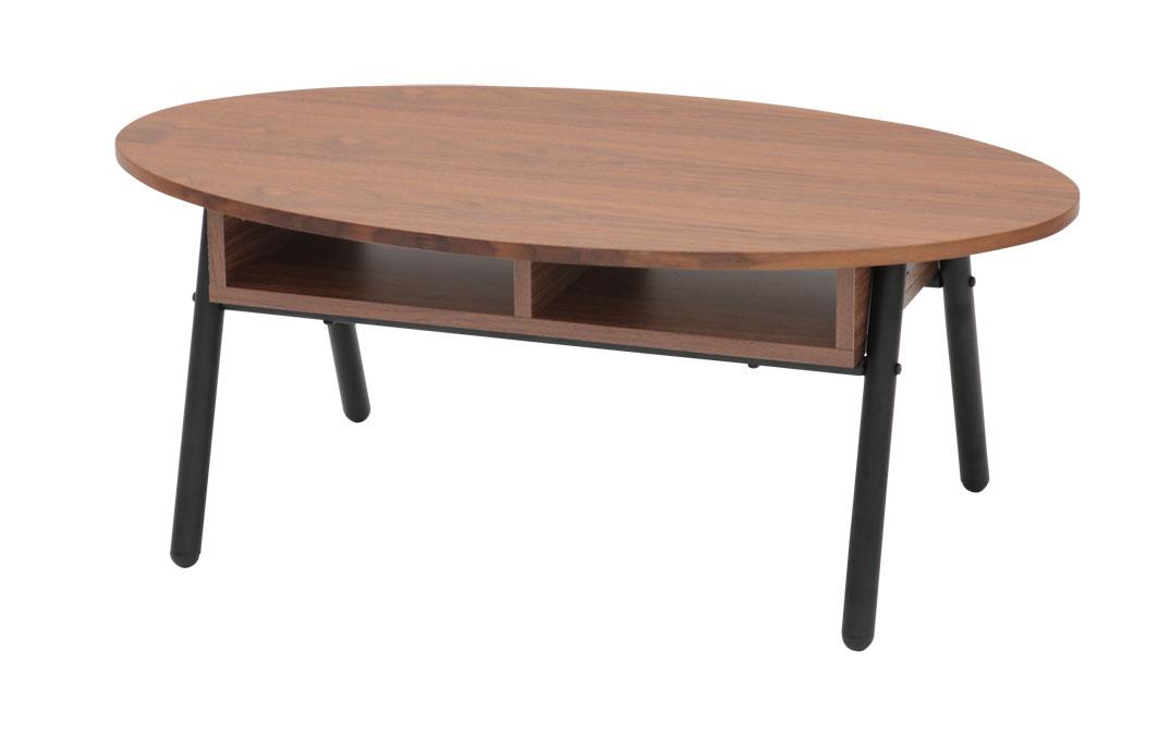 WLT-2160 クロイス ウッドトップリビングテーブル90 オーバル丸センターテーブル ソファーテーブル 送料無料 家具 あずま工芸