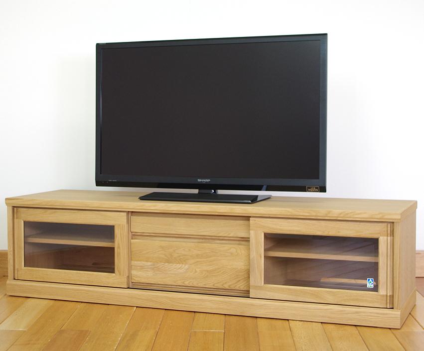 大雪木工 フィガロFIGARO 152ローボード 引戸TVボード テレビ台 薄型テレビ対応 ナチュラル 木製楢オーク 送料無料 北海道家具 日本製