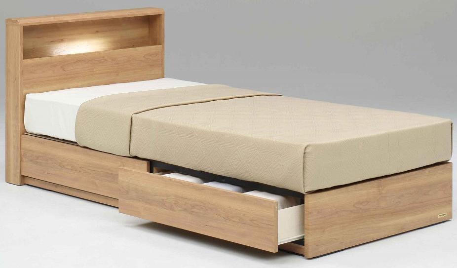 フランスベッド PR70-06C ダブル ドロアータイプ 引き出し収納付き 棚付き 宮付き LED照明フラット 日本製家具 送料無料 フレームのみ