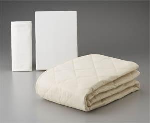 フランスベッド のびのびぴった3点パック シングル シーツ&ベッドパッドセット ニット生地 ロングサイズ対応 送料無料 日本製寝具